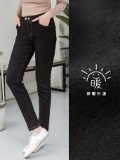 內毛絨排釦設計修身牛仔窄管褲