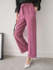立體線條鬆緊綁帶純色西裝直筒褲