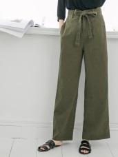 高含棉素色口袋打褶寬褲(附綁帶)
