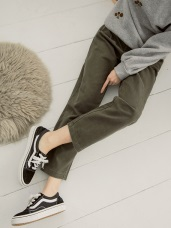 高含棉復古色素面哈倫褲