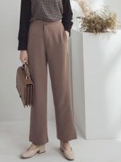 純色不易皺高腰小喇叭厚西裝褲