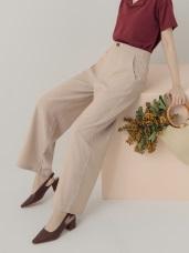 質感配色直條紋寬褲