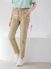 高含棉鬆緊綁帶小口袋設計純色直筒褲