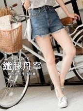 高含棉褲腳抽鬚破損造型牛仔丹寧短褲