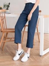 高含棉口袋反褶設計七分哈倫褲