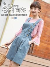 高棉木紋排釦荷葉拼接連身吊帶短褲