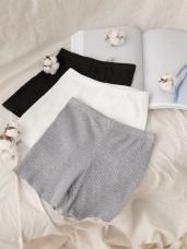 高含棉純色豎壓紋腰鬆緊安全褲