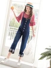 高含棉牛仔格紋反褶造型排釦吊帶褲