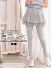高含棉荷葉網紗拼接內搭褲裙
