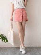 高含棉腰鬆緊雙釦設計斜片褲裙