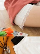 彈力壓紋鬆緊拼接蕾絲安全褲