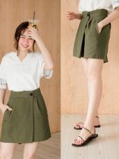 高含棉斜片設計高腰棉麻褲裙