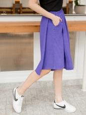 腰鬆緊純色斜片剪裁設計口袋褲裙
