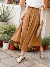 純色仿麻腰抽繩傘襬造型寬褲