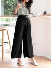 高含棉後腰鬆緊排釦打褶寬褲(附腰帶)