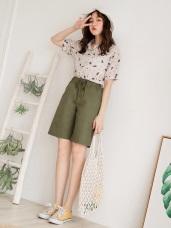 高含棉腰鬆緊純色綁帶口袋五分褲