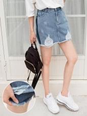 高含棉側邊條拼色牛仔丹寧刷破褲裙