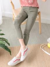 高含棉腰鬆緊刷破設計七分窄管褲