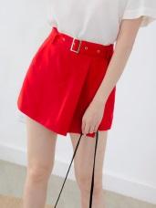 腰帶設計不規則剪裁純色短褲/裙