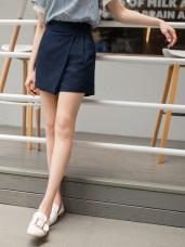 腰鬆緊斜片設計純色棉麻褲裙