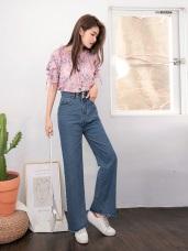 高含棉高腰雙釦抽鬚牛仔丹寧寬褲