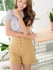 高含棉高腰排釦反褶短褲