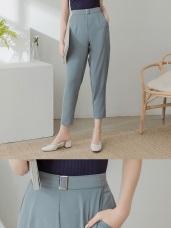 扣環設計後腰鬆緊輕薄透氣西裝褲