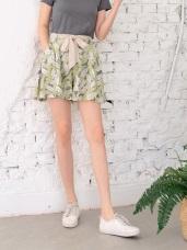 高腰鬆緊滿版花卉短褲裙(附綁帶)