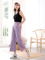 高含棉腰鬆緊腰帶設計直筒寬褲