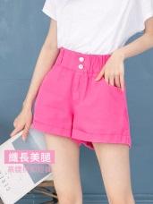 高腰排釦設計反褶高含棉短褲