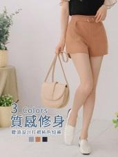 半鬆緊腰頭釦環設計打褶純色短褲