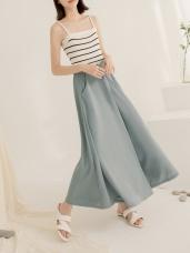 純色垂墜感不易皺寬擺雪紡褲裙