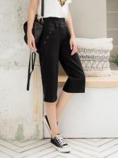 純色腰鬆緊口袋排釦五分寬版褲