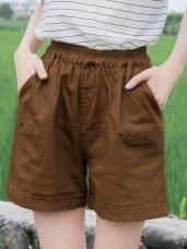 高含棉釦飾設計腰鬆緊純色短褲