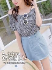 高含棉下襬抽鬚設計純色斜紋短褲裙
