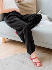 純色雪紡打褶造型口袋寬褲