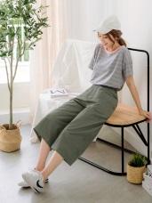 純色高含棉斜紋寬版長褲