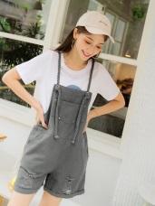 高含棉肩帶編織設計下襬刷破吊帶短褲