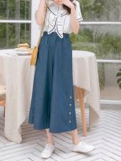 褲腳排釦設計腰鬆緊高棉牛仔寬褲
