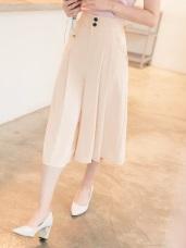 不易皺高腰排釦打摺設計八分西裝寬褲