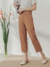 純色不易皺腰部造型雪紡直筒寬褲