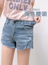 腰鬆緊破損潑漆設計彈性牛仔短褲
