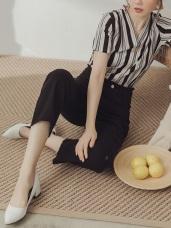 純色高含棉刷破毛邊丹寧牛仔長褲