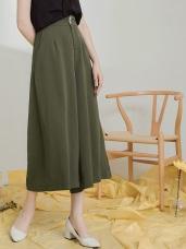 純色不易皺雙釦設計雪紡寬褲裙