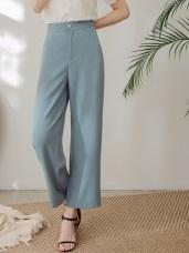 純色不易皺撞色釦設計涼感寬褲