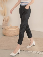 純色高含棉鬆緊腰頭舒適蕾絲長褲