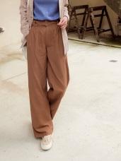 高含棉後腰鬆緊打褶寬版長褲
