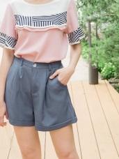 附皮革腰帶純色打褶反褶短褲