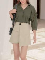 鈕釦造型假口袋不對稱A字褲裙