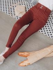 雙釦造型收腹寬腰頭斜紋彈力窄管褲